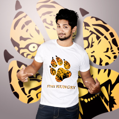 Men Round Neck White T-Shirt- Lion