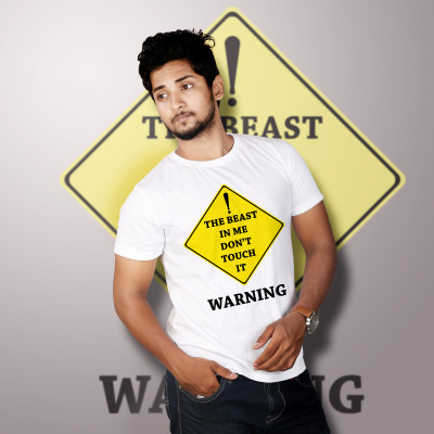 Men Round Neck White T-Shirt- Warning