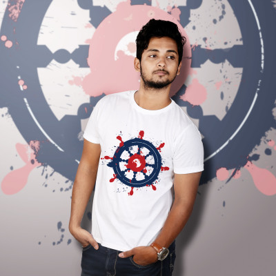 Men Round Neck White T-Shirt- Wheel