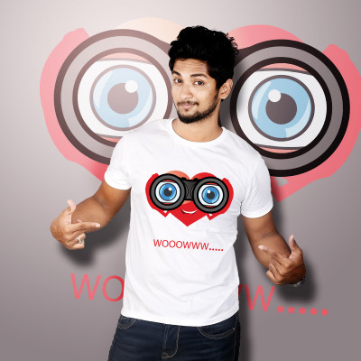 Men Round Neck White T-Shirt- Wow