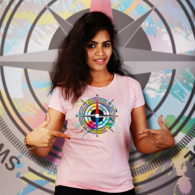 Women Round Neck Pink Tops- Compass