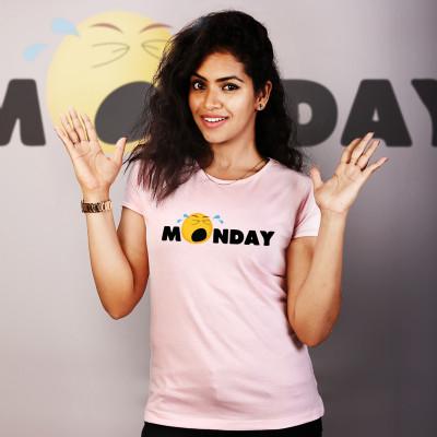 Women Round Neck Pink Tops - Monday