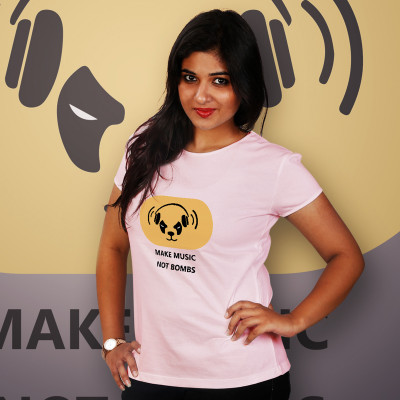 Women Round Neck Pink Tops - Music Bomb
