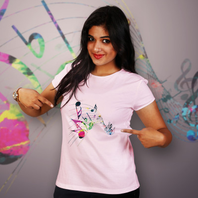 Women Round Neck Pink Tops - Music