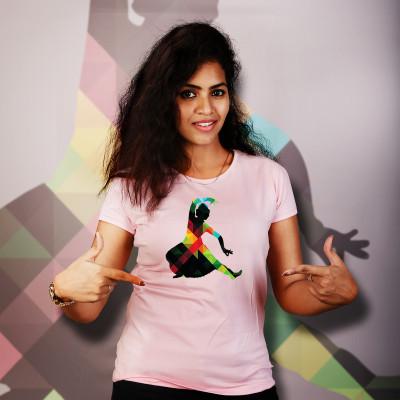 Women Round Neck Pink Tops - Naatiyam