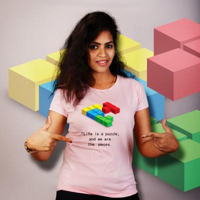 Women Round Neck Pink Tops - Puzzle