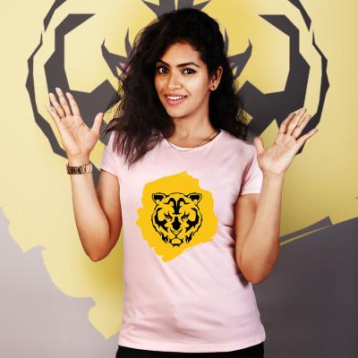 Women Round Neck Pink Tops - Tiger