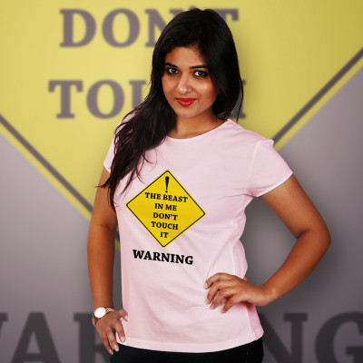 Women Round Neck Pink Tops - Warning