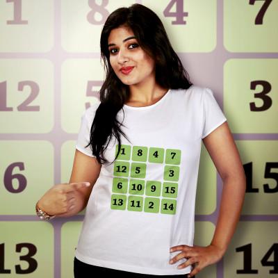 Women Round Neck White Tops - Sudoku