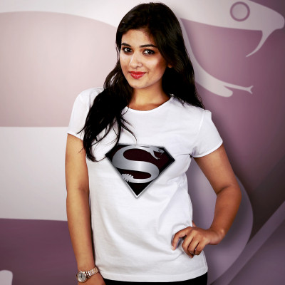 Women Round Neck White Tops- Super Snake
