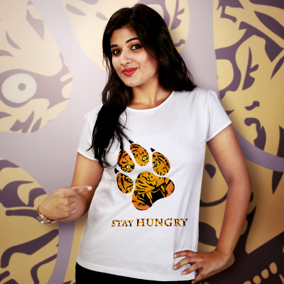 Women Round Neck White Tops - Tyger