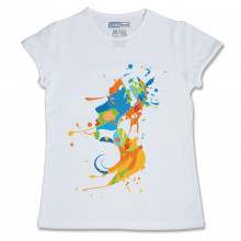 Women Round Neck White Tops- Splash