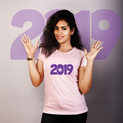 Women Round Neck Pink Tops - 2019