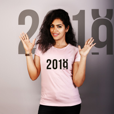 Women Round Neck Pink Tops - 2019 Rising