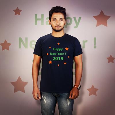 Men Round Neck Blue T-Shirt - Happy New Year