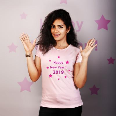 Women Round Neck Pink Tops - Happy New Year