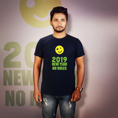 Men Round Neck Blue T-Shirt - No Rules 2019