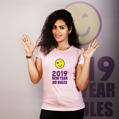 Women Round Neck Pink Tops - No Rules 2019
