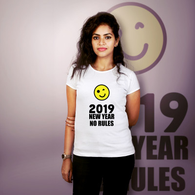 Women Round Neck White Tops - No Rules 2019