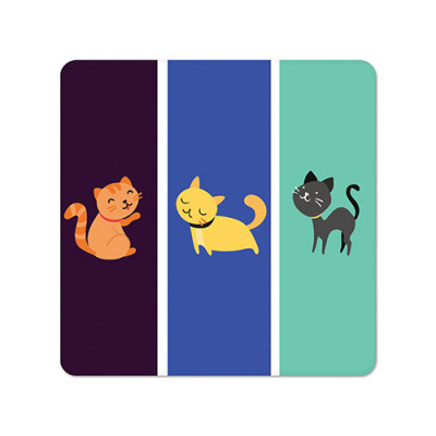 Fridge Magnet Square - Kitties