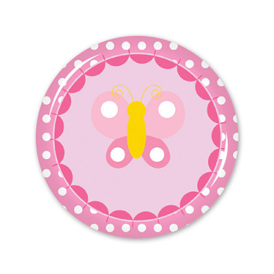 School Badges Medium - Pink Butterfly